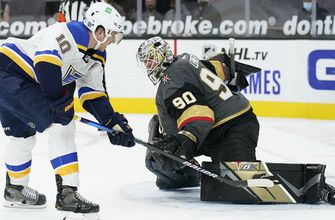 Blues squander late lead but hang on for 5-4 shootout victory over Golden Knights,